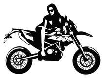 Ragazza sulla motocicletta di KTM Fotografie Stock Libere da Diritti