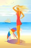 Ragazza sulla spiaggia royalty illustrazione gratis