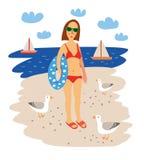 Ragazza sulla spiaggia del mare Illustrazione disegnata a mano di vettore di estate Immagine Stock Libera da Diritti