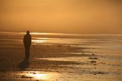Ragazza sulla spiaggia fumosa Fotografia Stock