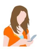 Ragazza sveglia che digita sul suo telefono mobile illustrazione vettoriale