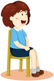 Ragazza sveglia che si siede sulla sedia royalty illustrazione gratis