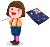 Ragazza sveglia che tiene bandierina australiana Immagini Stock