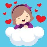 Ragazza sveglia con gli occhi chiusi sui biglietti di S. Valentino della nuvola Fotografie Stock