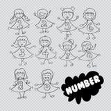 Ragazza sveglia con i vestiti numerati illustrazione di stock
