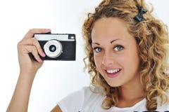 Ragazza sveglia con la macchina fotografica Fotografie Stock Libere da Diritti