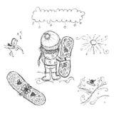 Ragazza sveglia con lo snowboard, schizzo per la vostra progettazione Immagine Stock Libera da Diritti