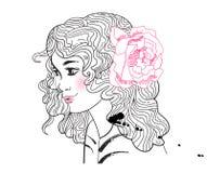 Ragazza sveglia con un fiore in suoi capelli illustrazione vettoriale