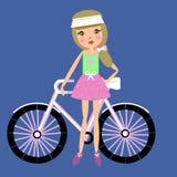 Ragazza sveglia con una bicicletta Immagini Stock
