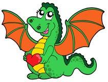 Ragazza sveglia del drago con cuore Fotografia Stock