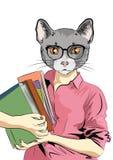 Ragazza sveglia del gatto con i libri Ragazza del gatto dello studente Illustrazione di vettore Immagini Stock
