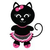 Ragazza sveglia del gatto nero Fotografia Stock Libera da Diritti