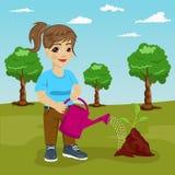 Ragazza sveglia del littke che innaffia una pianta in parco royalty illustrazione gratis