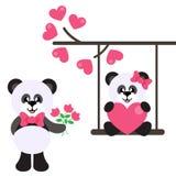 Ragazza sveglia del panda del fumetto con cuore su un'oscillazione e su un ragazzo adorabile del panda e del ramo con i fiori illustrazione di stock