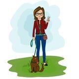 Ragazza sveglia dell'illustrazione con il cane Immagine Stock