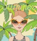 Ragazza sveglia dell'illustrazione di vettore sulla spiaggia di estate con le palme e gli occhiali da sole immagine stock libera da diritti