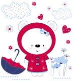 Ragazza sveglia dell'orsacchiotto con l'ombrello, i fiori ed i cuori La stampa per i bambini, manifesto, l'abbigliamento dei bamb illustrazione di stock