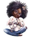 Ragazza sveglia di estate del fumetto con le piccole lepri illustrazione di stock
