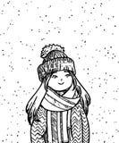 Ragazza sveglia di scarabocchio nelle precipitazioni nevose Stile impreciso Illustrazione disegnata a mano di vettore Fotografia Stock