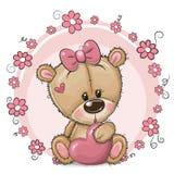 Ragazza sveglia di Teddy Bear del fumetto con cuore ed i fiori illustrazione di stock
