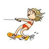 Ragazza sveglia di wakeboard del fumetto in costume da bagno che fa wakeboarding Carattere disegnato a mano isolato vettore illustrazione vettoriale
