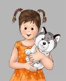 Ragazza sveglia e cucciolo minuscolo, bambino, animale del cucciolo, essere umano, libro da colorare, cartolina di illustrasion d royalty illustrazione gratis