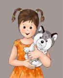 ragazza sveglia e cucciolo minuscolo, bambino, animale del cucciolo, essere umano, libro da colorare, illustrasion del libro di s royalty illustrazione gratis