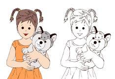 Ragazza sveglia e cucciolo minuscolo, bambino, animale del cucciolo, essere umano, libro da colorare, illustrasion del libro di s illustrazione di stock