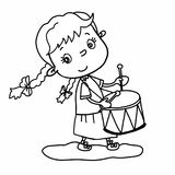 Ragazza sveglia l disegno dell'illustrazione del fumetto che gioca tamburo e che parla il fondo di bianco dell'illustrazione del  Immagine Stock Libera da Diritti