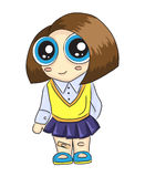 Ragazza sveglia nell'andare a scuola uniforme Immagini Stock