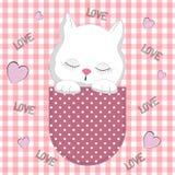 Ragazza sveglia nella tasca, progettazione del gatto della maglietta per i bambini Cartolina d'auguri royalty illustrazione gratis