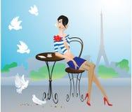 Ragazza sveglia a Parigi Immagine Stock