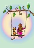 Ragazza sveglia sull'oscillazione royalty illustrazione gratis
