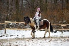 Ragazza teenager che monta un cavallo Immagine Stock