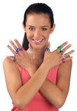 Ragazza teenager con gli anelli Immagine Stock