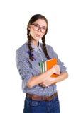 Ragazza teenager con i libri Immagini Stock Libere da Diritti
