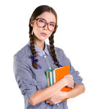 Ragazza teenager con i libri Fotografia Stock