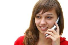 Ragazza teenager con il telefono delle cellule Fotografia Stock