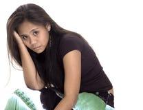 Ragazza teenager con l'emicrania Fotografia Stock