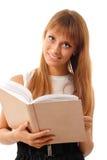 Ragazza teenager dell'allievo allegra con il libro Fotografia Stock Libera da Diritti