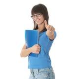 Ragazza teenager dell'allievo con il rilievo di nota Immagini Stock Libere da Diritti