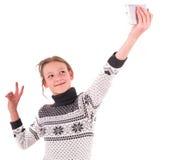 Ragazza teenager su un fondo bianco Fotografie Stock