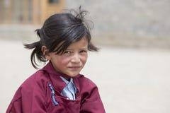 Ragazza tibetana del ritratto in Ladakh L'India Fotografia Stock Libera da Diritti