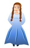 Ragazza timida in abito blu Fotografie Stock