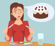 Ragazza triste che mangia l'alimento di dieta che sogna del dolce fotografie stock