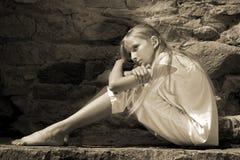 Ragazza triste dell'adolescente Fotografie Stock