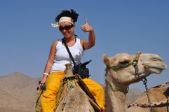 Ragazza turistica che si siede a cavallo di un cammello, impressioni vive fotografia stock