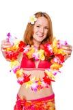 ragazza in un bikini che dà fiore Fotografia Stock Libera da Diritti