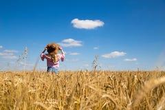 Ragazza in un campo sui precedenti di grano sotto un cielo blu Sunn Fotografia Stock