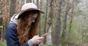 Ragazza in un cappello con un telefono in una foresta di conifere stock footage